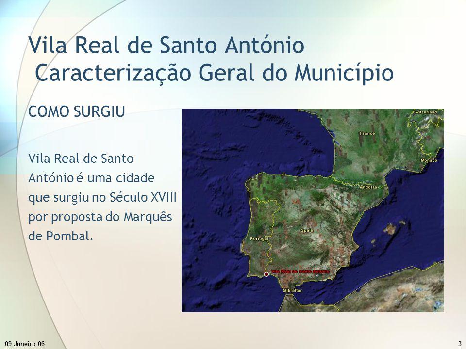 09-Janeiro-063 Vila Real de Santo António Caracterização Geral do Município COMO SURGIU Vila Real de Santo António é uma cidade que surgiu no Século XVIII por proposta do Marquês de Pombal.