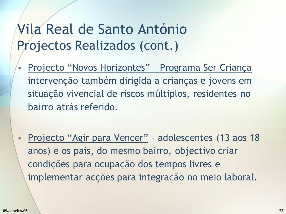09-Janeiro-0632 Vila Real de Santo António Projectos Realizados (cont.) Projecto Novos Horizontes – Programa Ser Criança – intervenção também dirigida