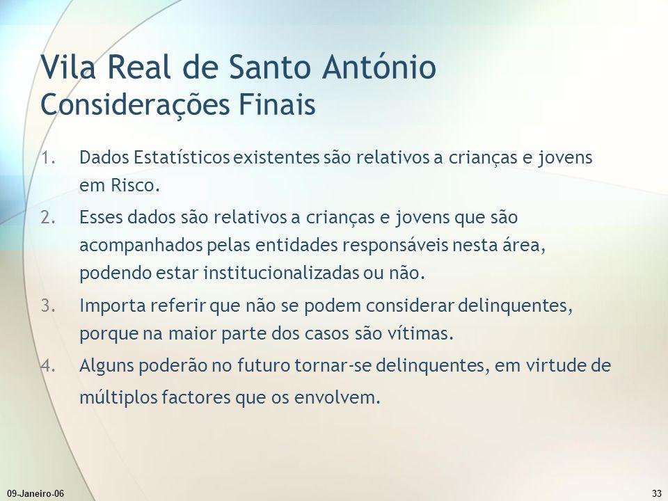 09-Janeiro-0633 Vila Real de Santo António Considerações Finais 1.Dados Estatísticos existentes são relativos a crianças e jovens em Risco.
