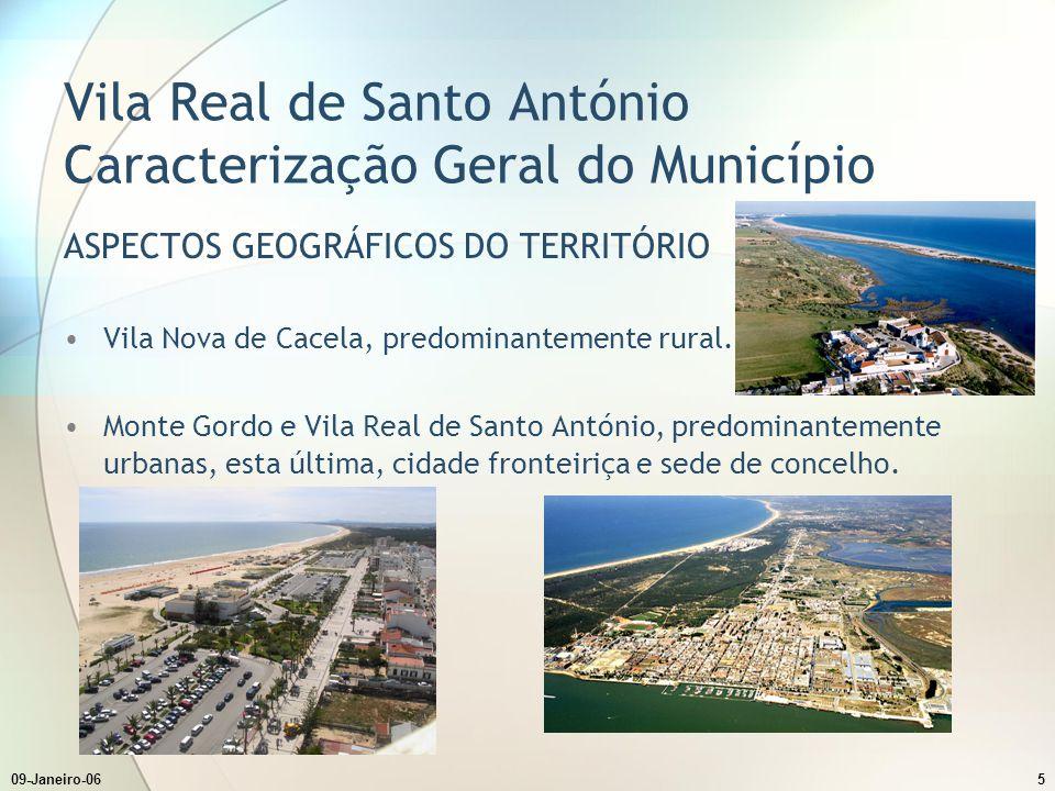 09-Janeiro-065 ASPECTOS GEOGRÁFICOS DO TERRITÓRIO Vila Nova de Cacela, predominantemente rural. Monte Gordo e Vila Real de Santo António, predominante