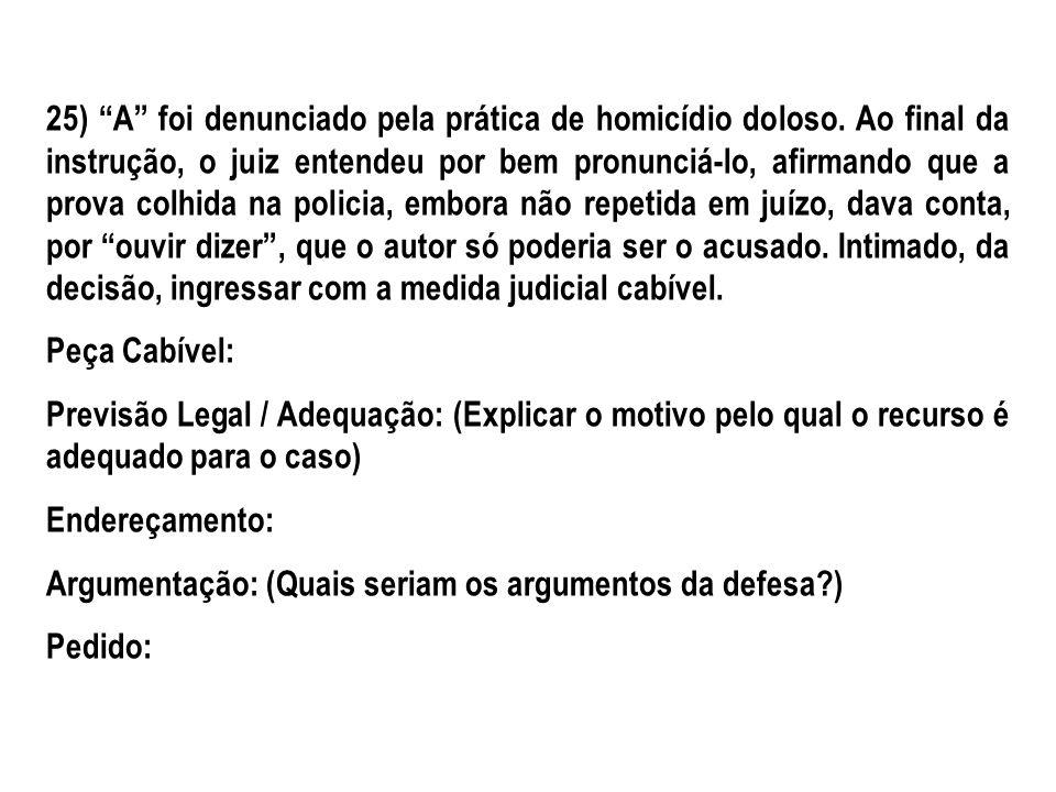 26) A, portador de doença mental matou B.