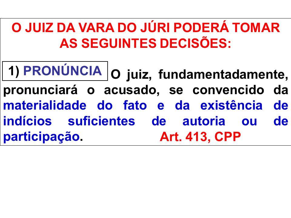 INTIMAÇÃO DA DECISÃO DE PRONÚNCIA Art.