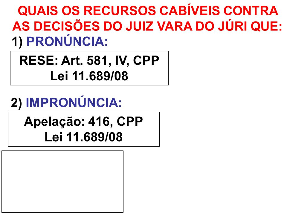 3) ABSOVIÇÃO SUMÁRIA: 4) DESCLASSIFICAÇÃO: RESE: Art. 581, II, CPP Apelação: 416, CPP Lei 11.689/08