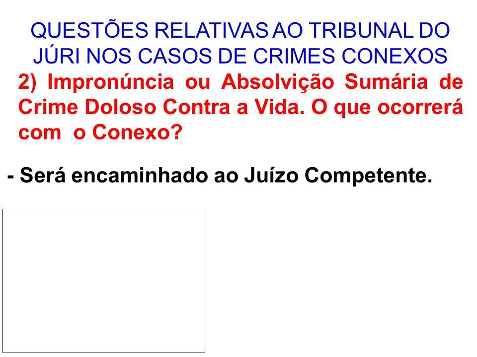 QUESTÕES RELATIVAS AO TRIBUNAL DO JÚRI NOS CASOS DE CRIMES CONEXOS 3) Se o Conselho de Sentença desclassificar o doloso contra a vida.