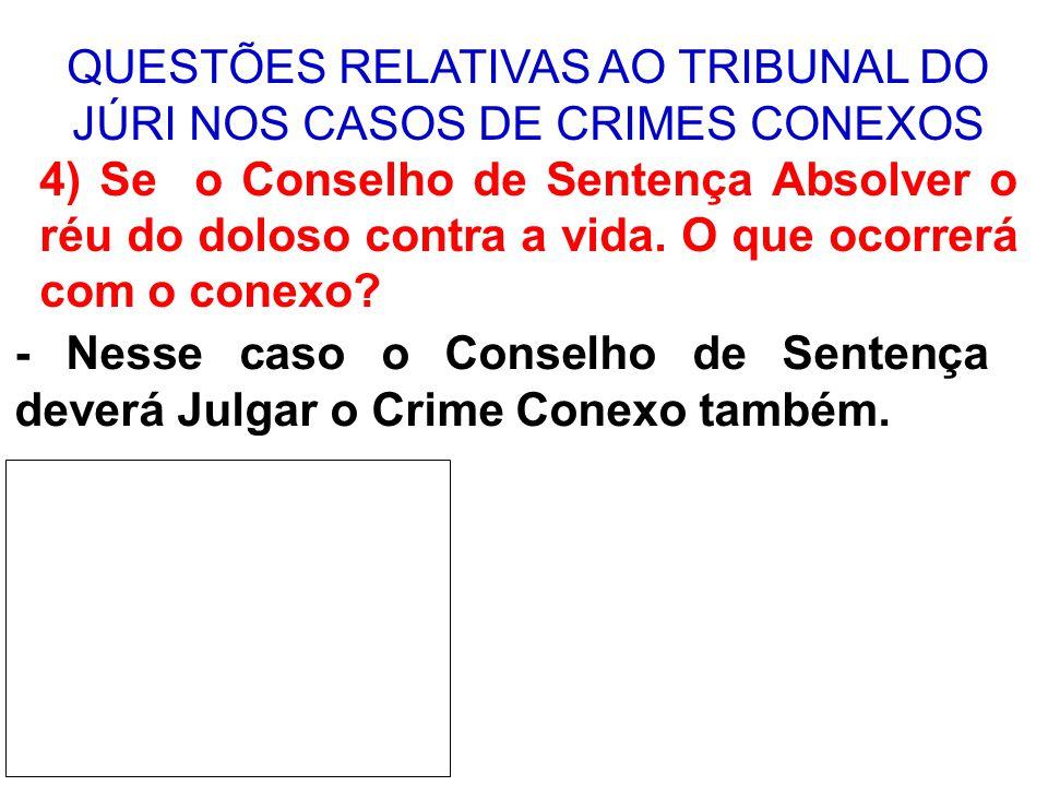 QUESTÕES RELATIVAS AO TRIBUNAL DO JÚRI NOS CASOS DE CRIMES CONEXOS 5) Se o Conselho de Sentença condenar o réu pelo crime doloso contra a vida.