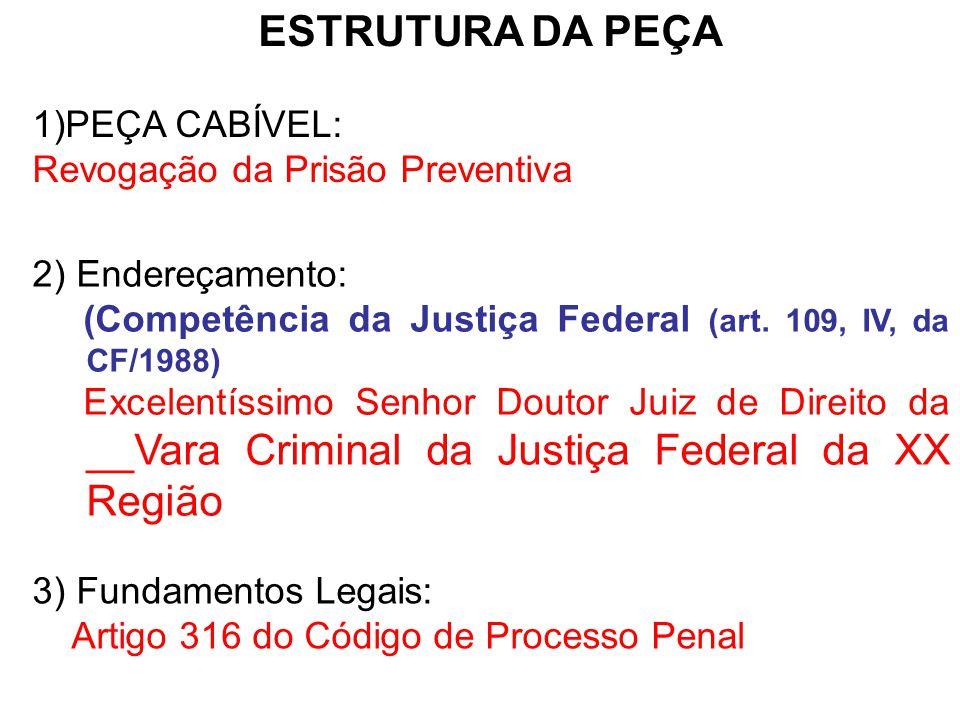 4) Pontos a serem abordados: a)Relatar o caso; b)Demonstrar que os requisitos da Prisão Preventiva não estão presentes.