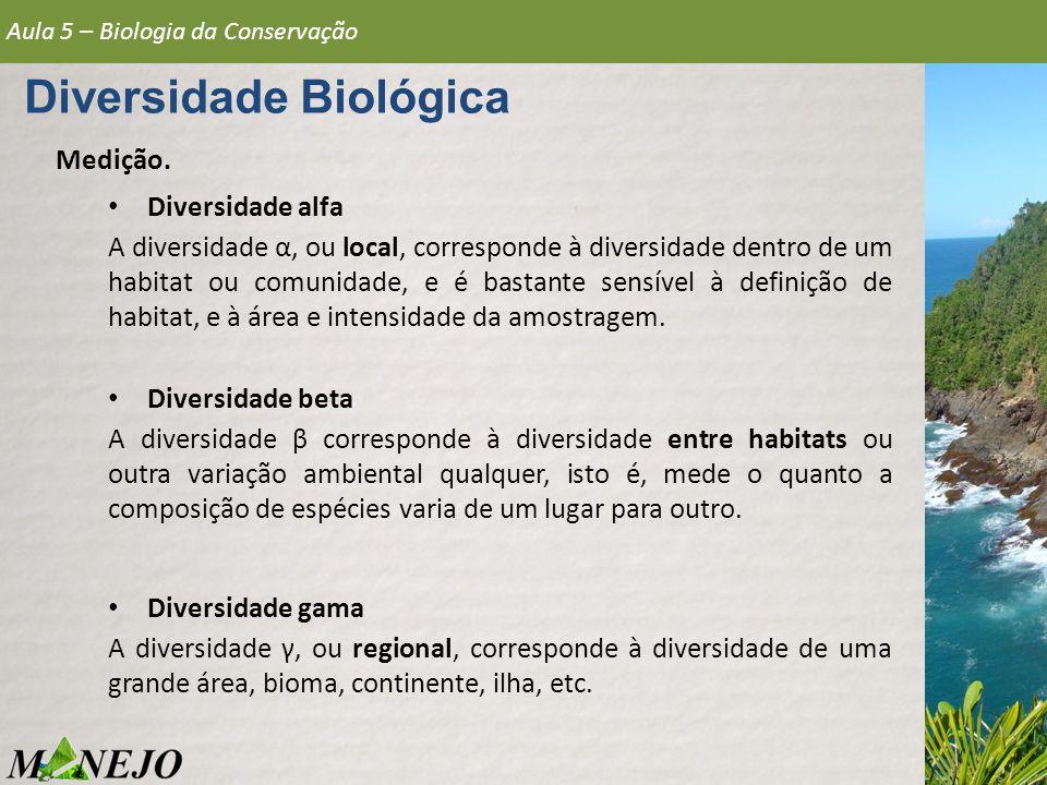 Medição. Diversidade alfa A diversidade α, ou local, corresponde à diversidade dentro de um habitat ou comunidade, e é bastante sensível à definição d