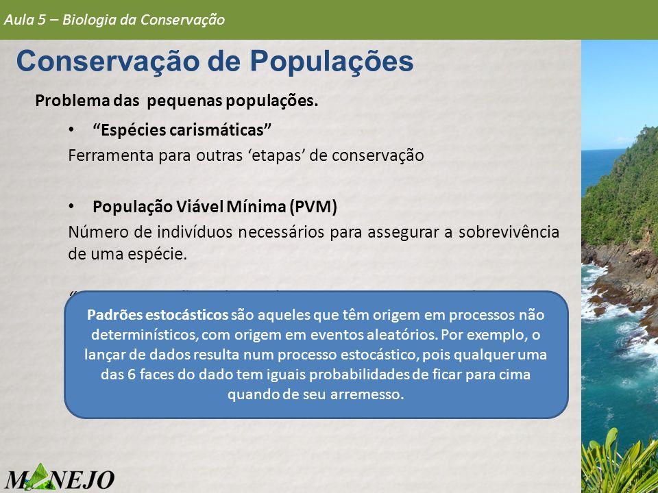 Problema das pequenas populações. Espécies carismáticas Ferramenta para outras etapas de conservação População Viável Mínima (PVM) Número de indivíduo