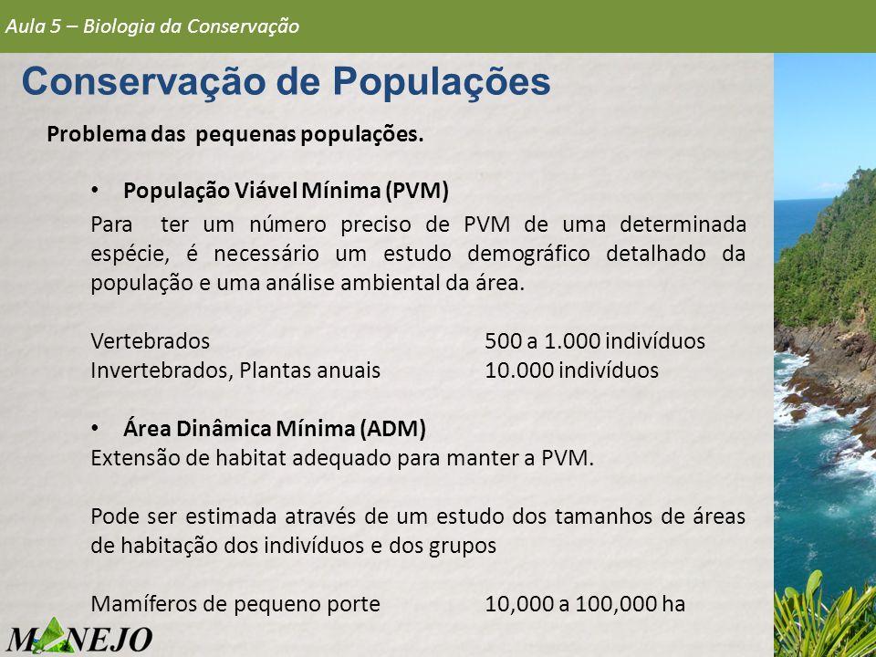 Problema das pequenas populações. População Viável Mínima (PVM) Para ter um número preciso de PVM de uma determinada espécie, é necessário um estudo d
