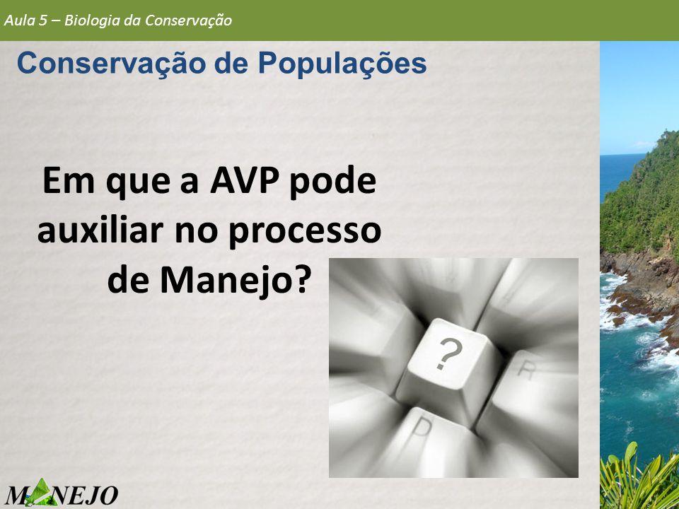 Em que a AVP pode auxiliar no processo de Manejo? Aula 5 – Biologia da Conservação Conservação de Populações