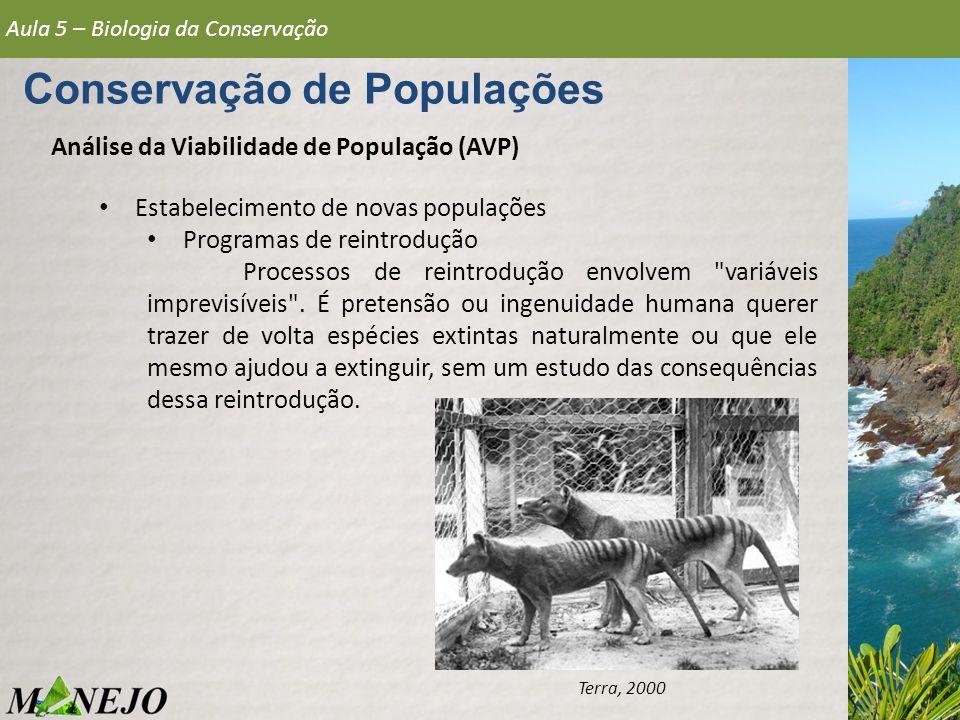 Análise da Viabilidade de População (AVP) Aula 5 – Biologia da Conservação Conservação de Populações Terra, 2000 Estabelecimento de novas populações P