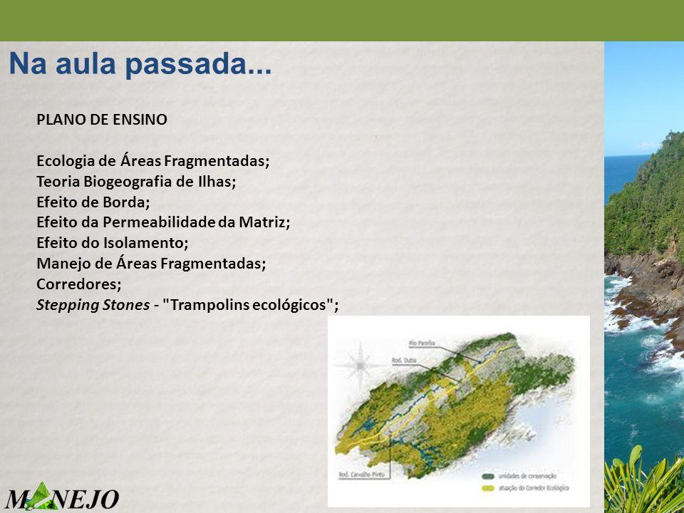 Na aula passada... PLANO DE ENSINO Ecologia de Áreas Fragmentadas; Teoria Biogeografia de Ilhas; Efeito de Borda; Efeito da Permeabilidade da Matriz;