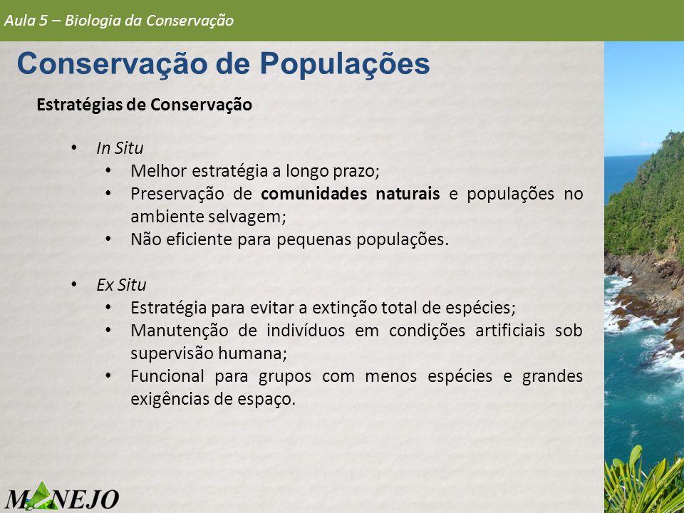 Estratégias de Conservação Aula 5 – Biologia da Conservação Conservação de Populações In Situ Melhor estratégia a longo prazo; Preservação de comunida