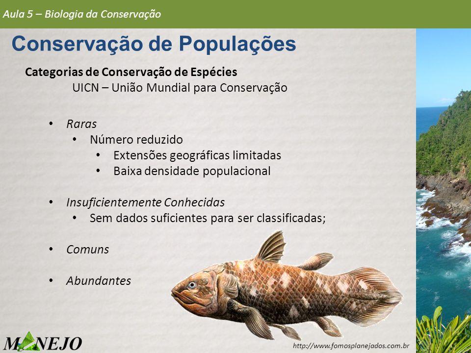 Categorias de Conservação de Espécies UICN – União Mundial para Conservação Aula 5 – Biologia da Conservação Conservação de Populações Raras Número re