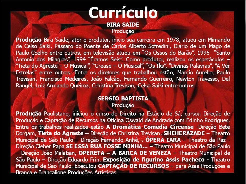 Currículo BIRA SAIDE Produção Produção Bira Saide, ator e produtor, inicio sua carreira em 1978, atuou em Mimando de Celso Saiki, Pássaro do Poente de