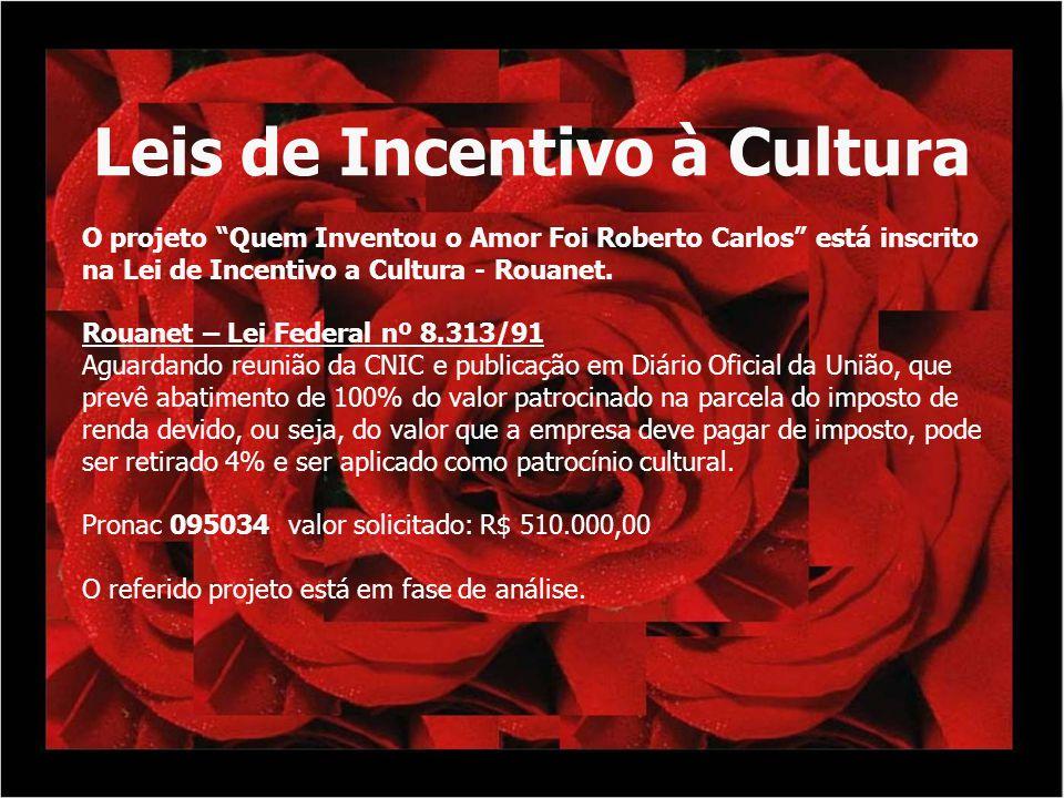 Leis de Incentivo à Cultura O projeto Quem Inventou o Amor Foi Roberto Carlos está inscrito na Lei de Incentivo a Cultura - Rouanet. Rouanet – Lei Fed