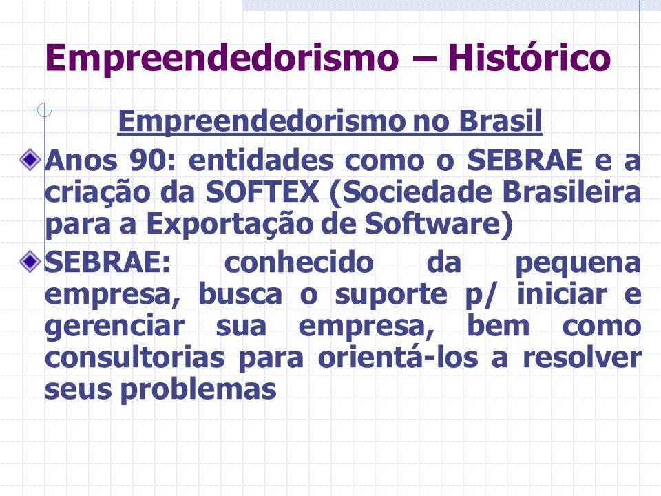 Empreendedorismo – Histórico Empreendedorismo no Brasil Anos 90: entidades como o SEBRAE e a criação da SOFTEX (Sociedade Brasileira para a Exportação