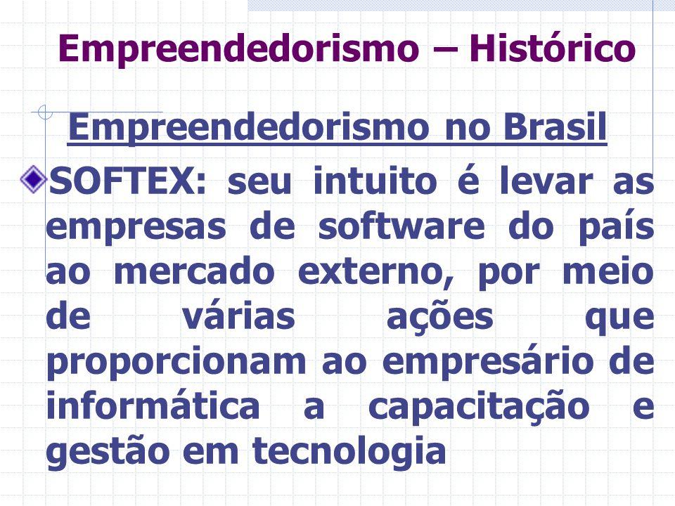 Empreendedorismo – Histórico Empreendedorismo no Brasil SOFTEX: seu intuito é levar as empresas de software do país ao mercado externo, por meio de várias ações que proporcionam ao empresário de informática a capacitação e gestão em tecnologia