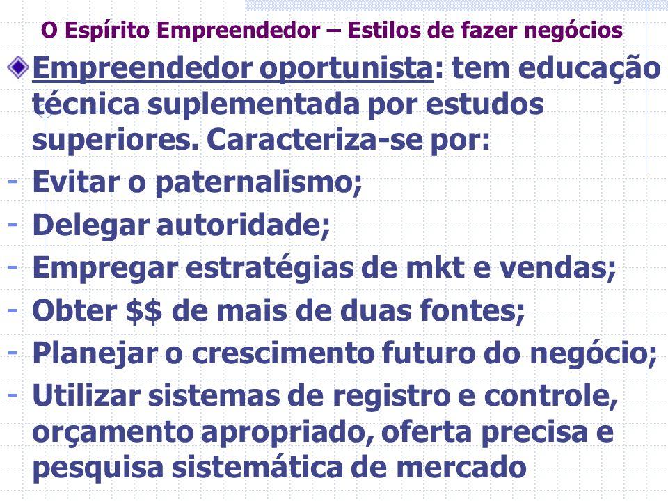 O Espírito Empreendedor – Estilos de fazer negócios Empreendedor oportunista: tem educação técnica suplementada por estudos superiores. Caracteriza-se