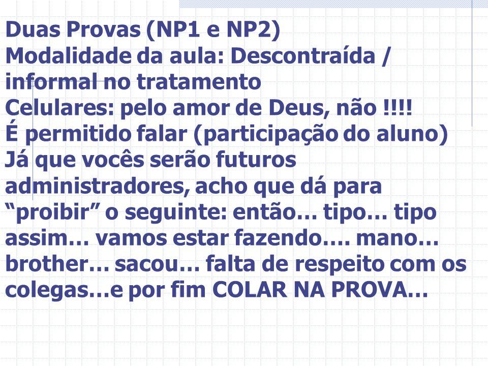 Duas Provas (NP1 e NP2) Modalidade da aula: Descontraída / informal no tratamento Celulares: pelo amor de Deus, não !!!! É permitido falar (participaç