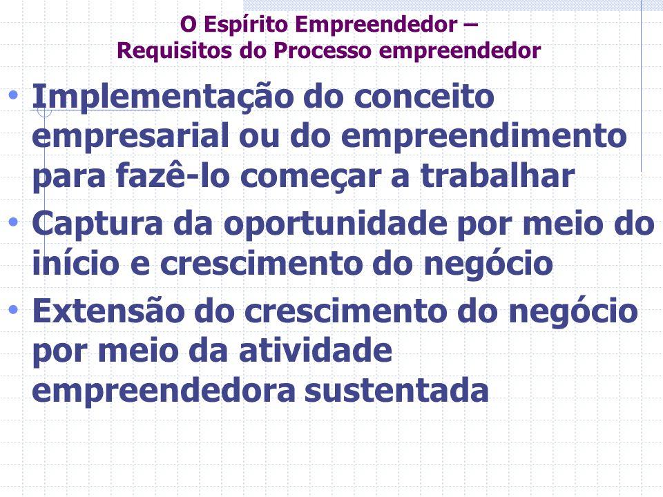 O Espírito Empreendedor – Requisitos do Processo empreendedor Implementação do conceito empresarial ou do empreendimento para fazê-lo começar a trabal