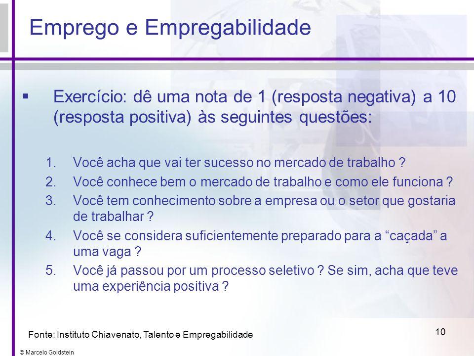 © Marcelo Goldstein 10 Exercício: dê uma nota de 1 (resposta negativa) a 10 (resposta positiva) às seguintes questões: 1.Você acha que vai ter sucesso