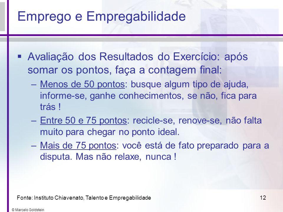 © Marcelo Goldstein 12 Avaliação dos Resultados do Exercício: após somar os pontos, faça a contagem final: –Menos de 50 pontos: busque algum tipo de a