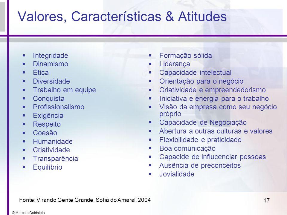 © Marcelo Goldstein 17 Valores, Características & Atitudes Integridade Dinamismo Ética Diversidade Trabalho em equipe Conquista Profissionalismo Exigê