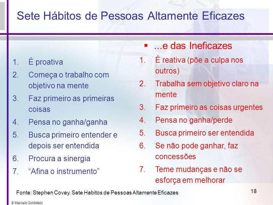 © Marcelo Goldstein 18 Sete Hábitos de Pessoas Altamente Eficazes 1.É proativa 2.Começa o trabalho com objetivo na mente 3.Faz primeiro as primeiras c