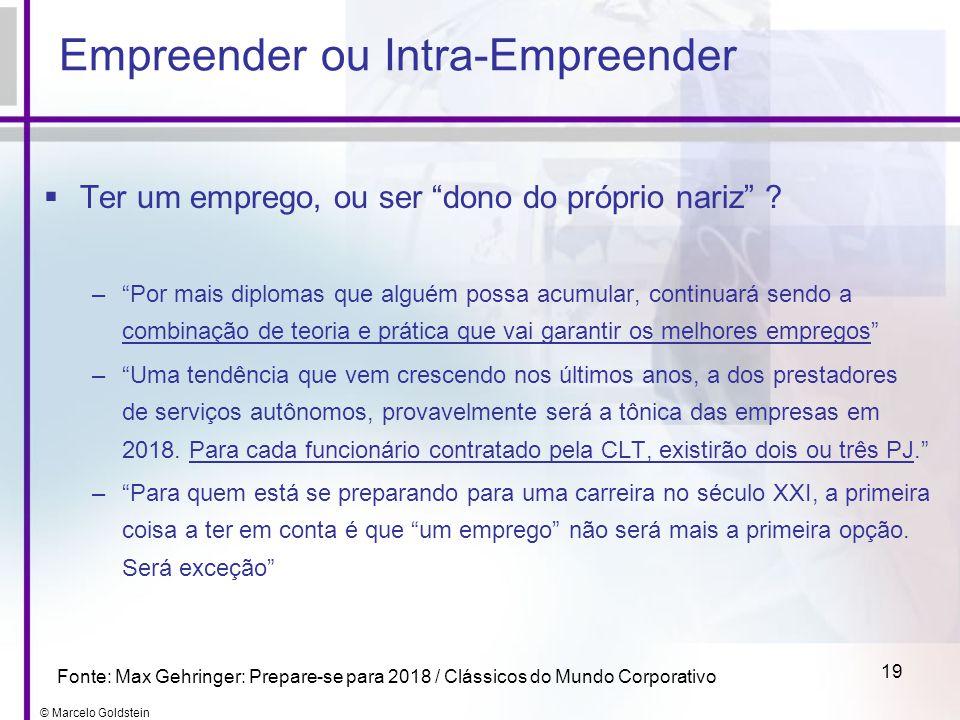 © Marcelo Goldstein 19 Empreender ou Intra-Empreender Ter um emprego, ou ser dono do próprio nariz ? –Por mais diplomas que alguém possa acumular, con