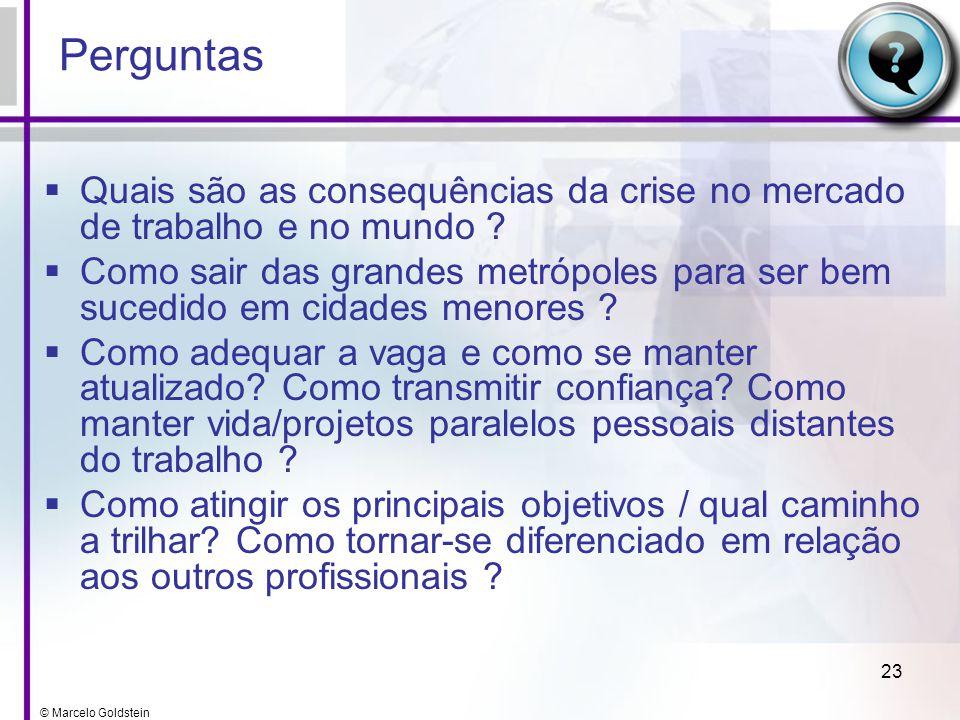 © Marcelo Goldstein 23 Perguntas Quais são as consequências da crise no mercado de trabalho e no mundo ? Como sair das grandes metrópoles para ser bem