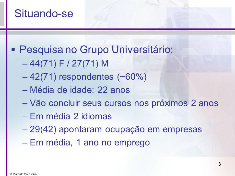 © Marcelo Goldstein 3 Situando-se Pesquisa no Grupo Universitário: –44(71) F / 27(71) M –42(71) respondentes (~60%) –Média de idade: 22 anos –Vão conc