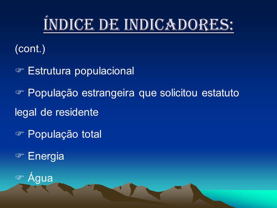 Índice de indicadores: (cont.) Estrutura populacional População estrangeira que solicitou estatuto legal de residente População total Energia Água