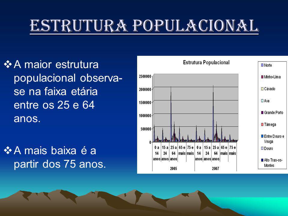Estrutura populacional A maior estrutura populacional observa- se na faixa etária entre os 25 e 64 anos.