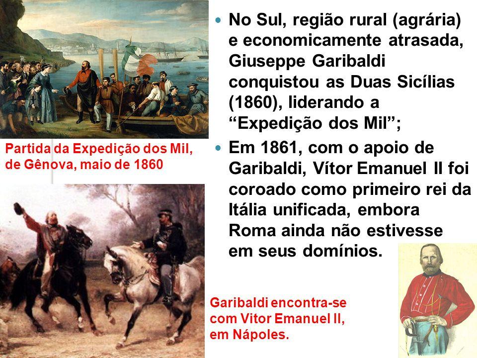 Finalmente, em 1870, Vitor Emanuel II anexou Roma (Estados Pontificados); A Questão Romana (1870-1929): o Papa Pio IX não reconheceu o novo Estado unificado; O Tratado de Latrão (1929).