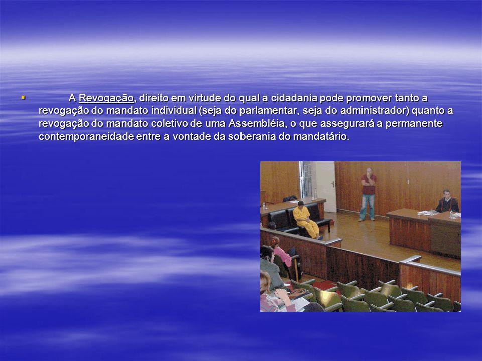 A Iniciativa, mediante a qual a cidadania exerce verdadeira orientação parlamentar ou administrativa, revelando a intenção de que se seja promulgada u