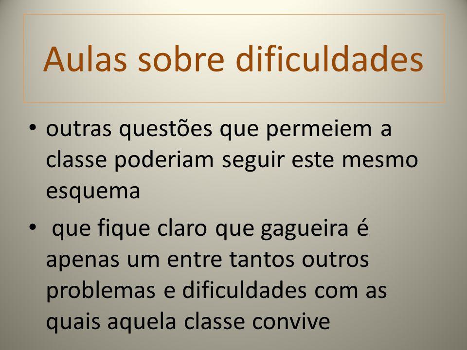 Aulas sobre dificuldades outras questões que permeiem a classe poderiam seguir este mesmo esquema que fique claro que gagueira é apenas um entre tanto