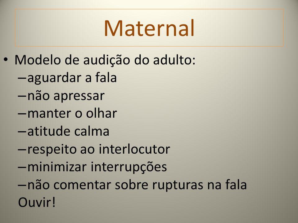 Maternal Modelo de audição do adulto: – aguardar a fala – não apressar – manter o olhar – atitude calma – respeito ao interlocutor – minimizar interru