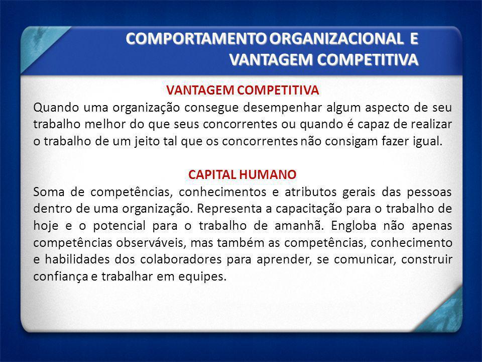 COMPORTAMENTO ORGANIZACIONAL E VANTAGEM COMPETITIVA VANTAGEM COMPETITIVA Quando uma organização consegue desempenhar algum aspecto de seu trabalho mel