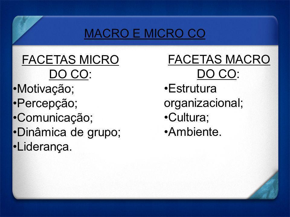 FACETAS MICRO DO CO: Motivação; Percepção; Comunicação; Dinâmica de grupo; Liderança. FACETAS MACRO DO CO: Estrutura organizacional; Cultura; Ambiente