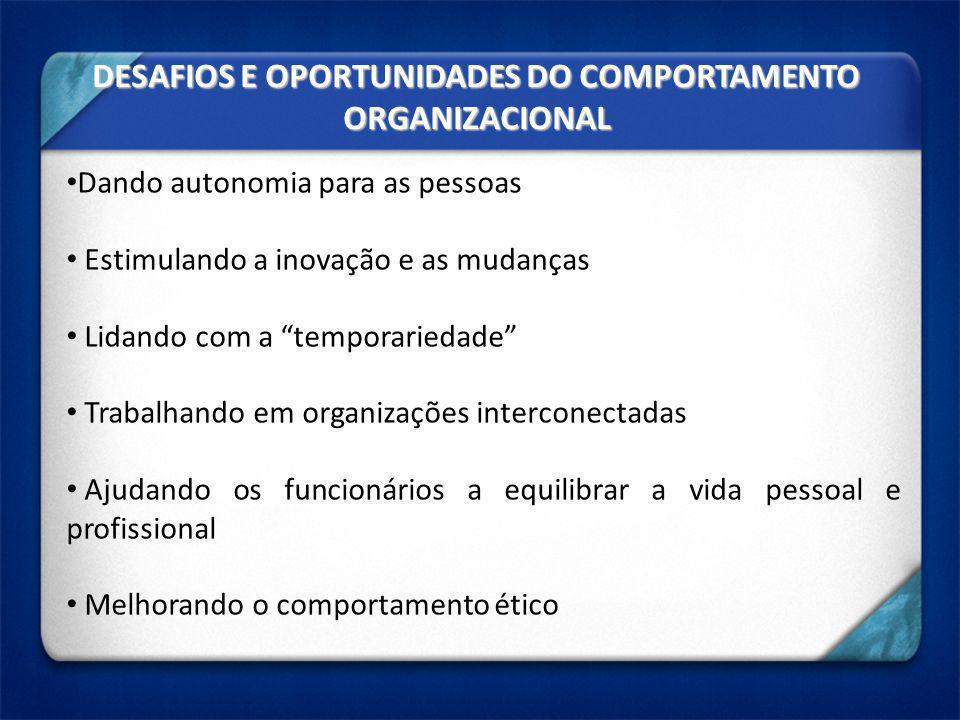 DESAFIOS E OPORTUNIDADES DO COMPORTAMENTO ORGANIZACIONAL Dando autonomia para as pessoas Estimulando a inovação e as mudanças Lidando com a temporarie