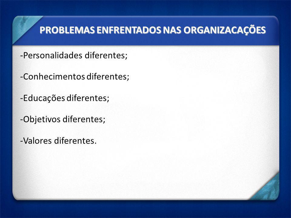 PROBLEMAS ENFRENTADOS NAS ORGANIZACAÇÕES -Personalidades diferentes; -Conhecimentos diferentes; -Educações diferentes; -Objetivos diferentes; -Valores