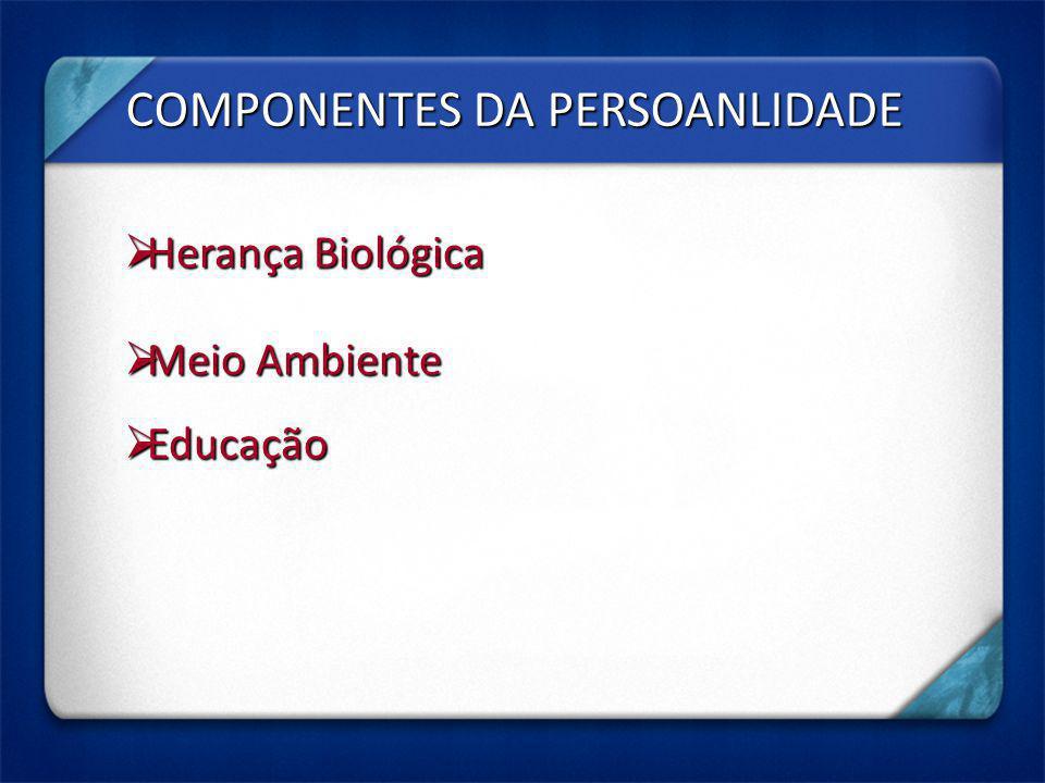 COMPONENTES DA PERSOANLIDADE Herança Biológica Herança Biológica Meio Ambiente Meio Ambiente Educação Educação