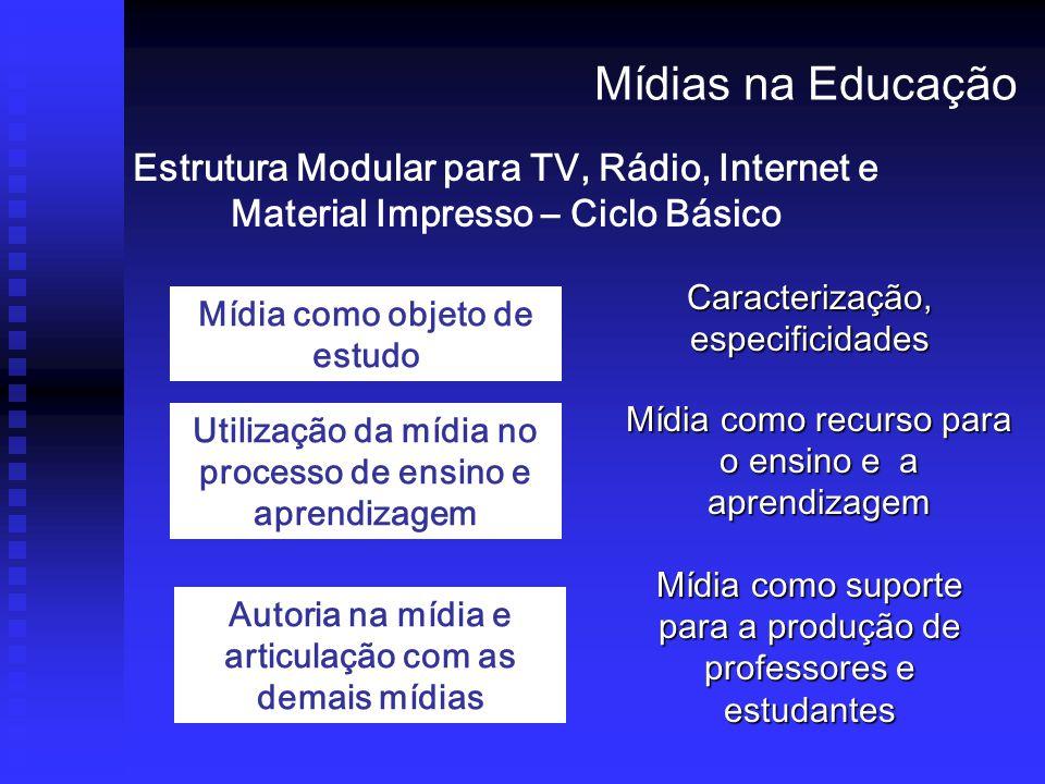 Estrutura Modular para TV, Rádio, Internet e Material Impresso – Ciclo Básico Mídias na Educação Mídia como objeto de estudo Utilização da mídia no processo de ensino e aprendizagem Autoria na mídia e articulação com as demais mídias Caracterização, especificidades Mídia como recurso para o ensino e a aprendizagem Mídia como suporte para a produção de professores e estudantes