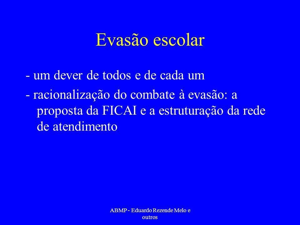 Evasão escolar - um dever de todos e de cada um - racionalização do combate à evasão: a proposta da FICAI e a estruturação da rede de atendimento ABMP