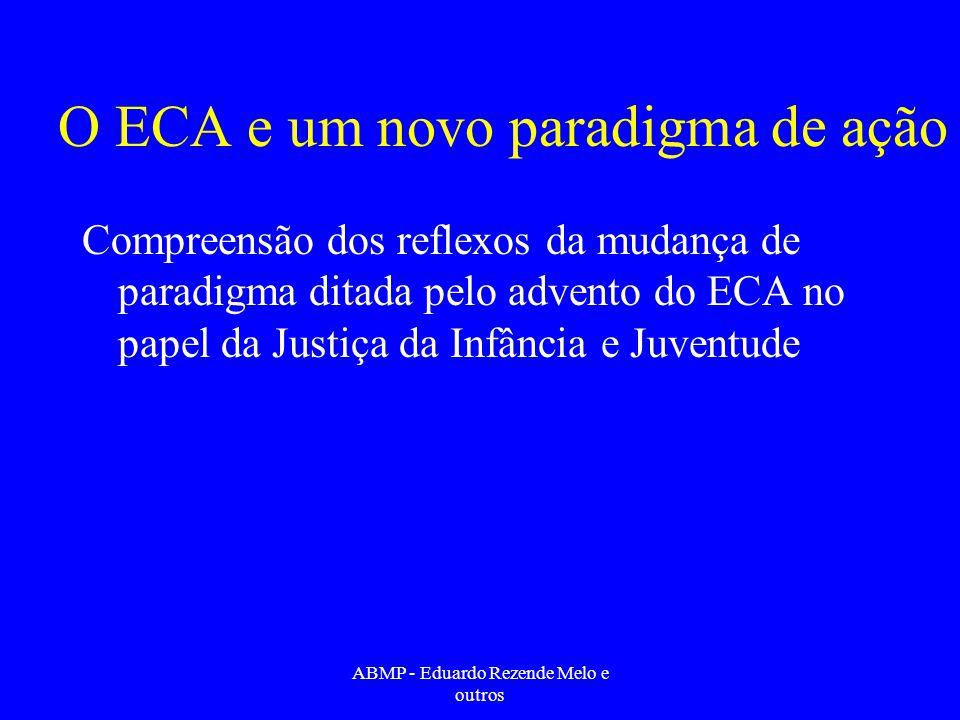 O ECA e um novo paradigma de ação Compreensão dos reflexos da mudança de paradigma ditada pelo advento do ECA no papel da Justiça da Infância e Juvent