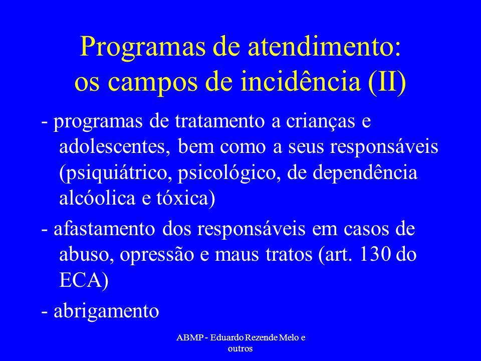 Programas de atendimento: os campos de incidência (II) - programas de tratamento a crianças e adolescentes, bem como a seus responsáveis (psiquiátrico