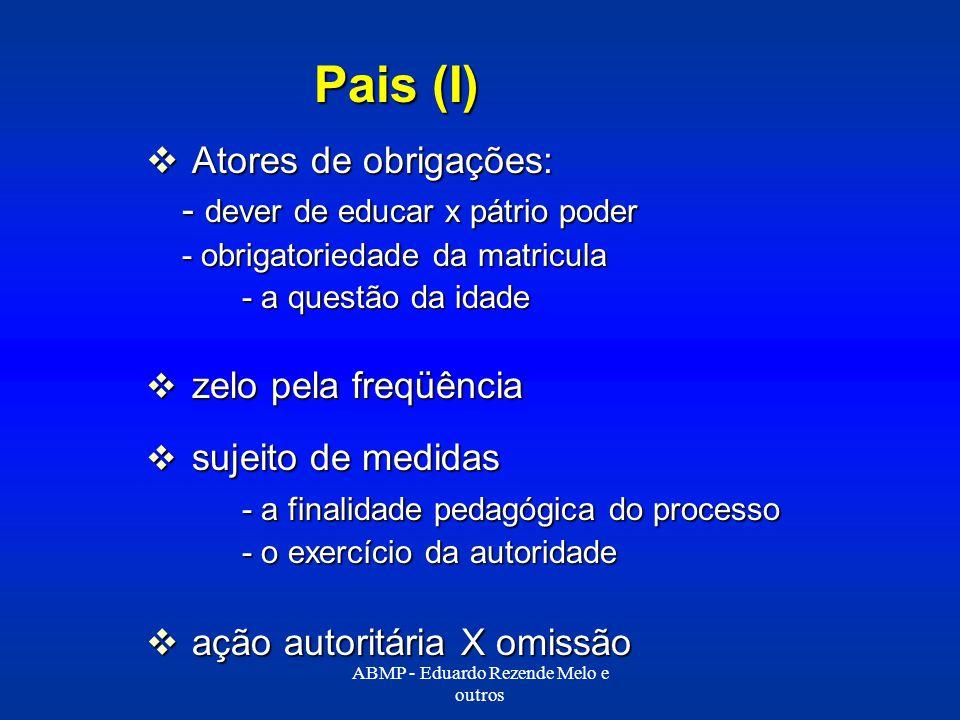 Pais (I) Atores de obrigações: Atores de obrigações: - dever de educar x pátrio poder - obrigatoriedade da matricula - a questão da idade zelo pela fr