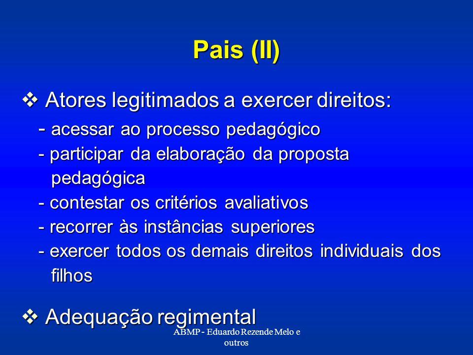 Pais (II) Atores legitimados a exercer direitos: Atores legitimados a exercer direitos: - acessar ao processo pedagógico - participar da elaboração da