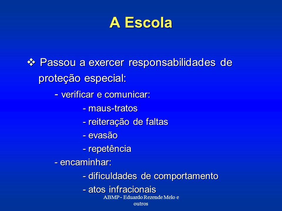 A Escola Passou a exercer responsabilidades de Passou a exercer responsabilidades de proteção especial: proteção especial: - verificar e comunicar: -